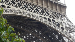 Close up view of lower part of Eiffel Tower, Paris, France Stock Video Footage