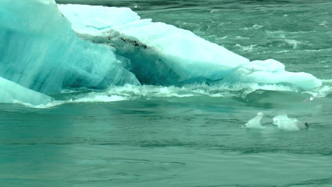 melting iceberg in water stream at joekulsarlon ou Footage