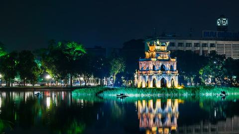 1080 - Turtle Tower on Hoan Kiem lake - Hanoi Stock Video Footage