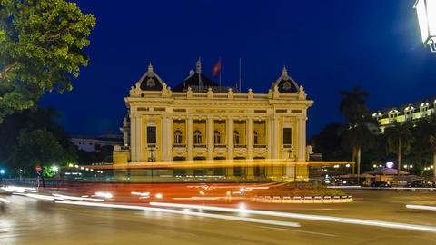 1080 - Hanoi Opera House - Zoom Time Lapse - Vietn Stock Video Footage