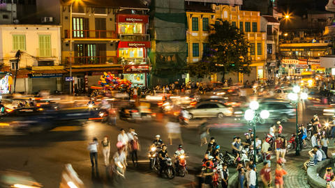 1080 - HANOI TIMELAPSE - HOAN KIEM DISTRICT Stock Video Footage