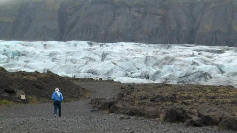 Svínafellsjökull glacier snout (tongue) in icela Stock Video Footage