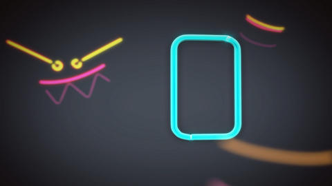 neon countdown object grey Stock Video Footage