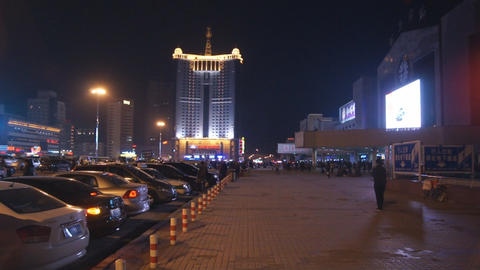 Harbin 18 Railway station square Stock Video Footage