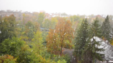 First Snow Fall in the City, Defocused View Stock Video Footage