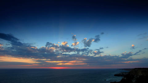 Timelapse sunset in the mountains. Cape Fiolent, C Footage