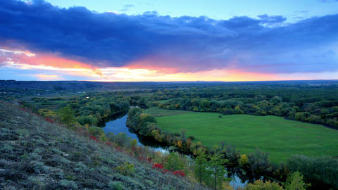Timelapse sunset on the river Seversky Donets Stock Video Footage