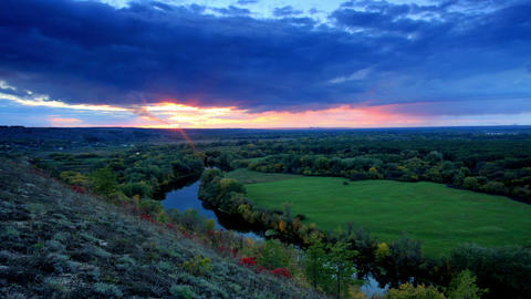 Timelapse sunset on the river Seversky Donets Footage