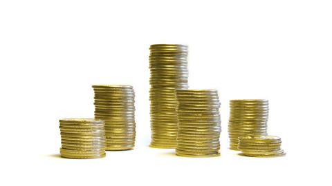 growing and reducing stacks of coins isolated on w Stock Video Footage