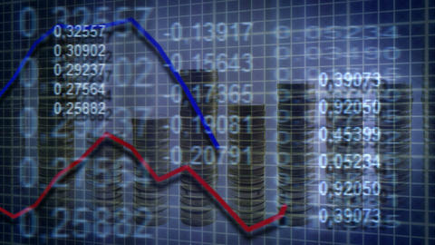 loopable economic background graph numbers and sta Stock Video Footage