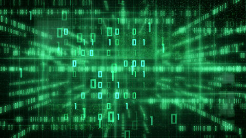 green loopable IT background glowing binary signs Stock Video Footage
