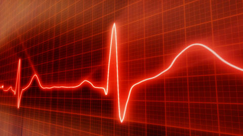 seamless loop red background EKG electrocardiogram Stock Video Footage