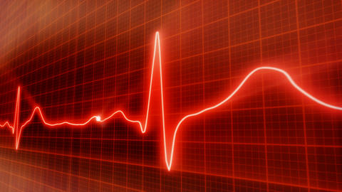 seamless loop red background EKG electrocardiogram Animation