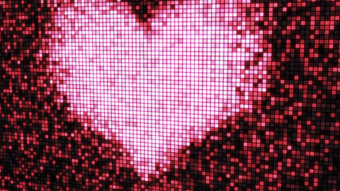 heart shape on digital screen seamless loop Stock Video Footage