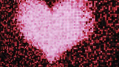 heart shape on digital screen seamless loop Stock Video Footage