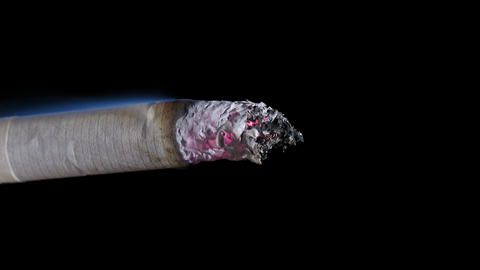 Sequence Timelapse Cigarette Smoking Macro On Blac stock footage