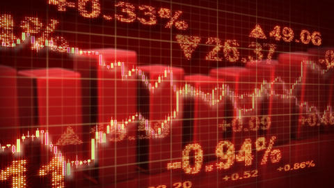 stock market red loopable business background Stock Video Footage