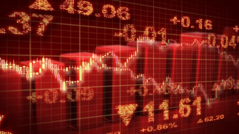 stock market red loopable business background Animation