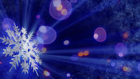 rotating snowflake and lights seamless loop backgr Animation