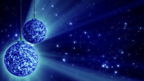 blue christmas balls and glitter particles loop Stock Video Footage