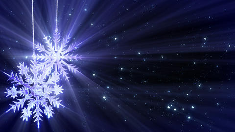 christmas loop background two snowflakes and glitt Animation