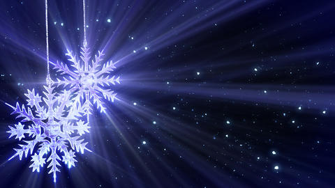 christmas loop background two snowflakes and glitt Stock Video Footage