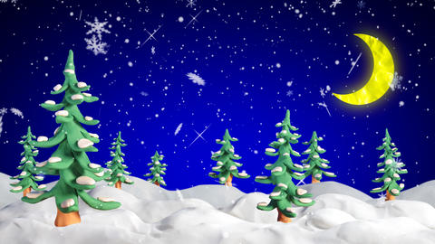 winter scene with clay firtrees and snowfall loopa Animation