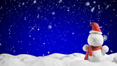 clay animation snowman and snowfall loopable Stock Video Footage