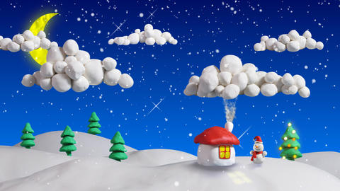 winter christmas scene house and firs loop clay an Animation