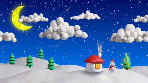 winter christmas scene house and firs loop clay an Stock Video Footage