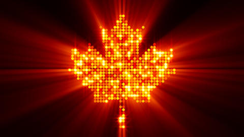 maple leaf of glowing red yellow particles with al Stock Video Footage