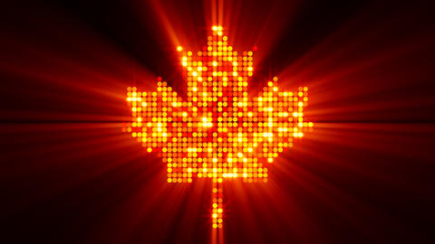 maple leaf of glowing red yellow particles with al Animation