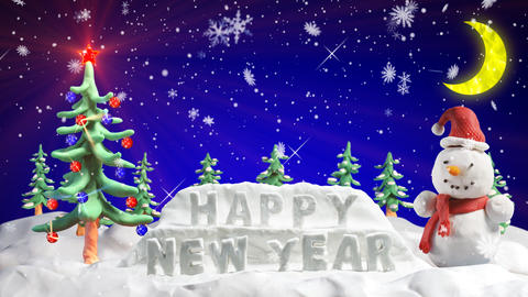 happy new year clay greetings loopable scene Animation