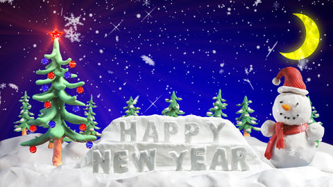happy new year clay greetings loopable scene Stock Video Footage
