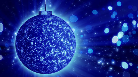 blue christmas ball close-up and lights loop Animation