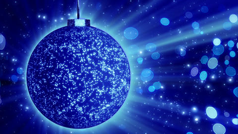 blue christmas ball close-up and lights loop Stock Video Footage