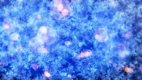 frost pattern and christmas lights seamless loop b Animation