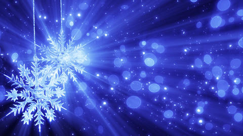 two snowflakes and lights loopable christmas backg Stock Video Footage