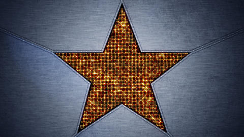 shining star shape and metal loopable background Animation