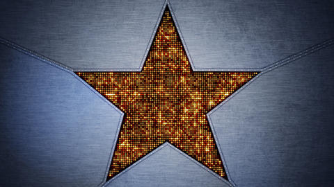 shining star shape and metal loopable background Stock Video Footage