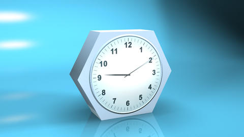timelapse clock with reflection on blue 3d Animation