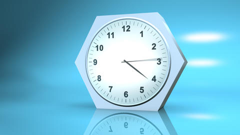timelapse clock with reflection on blue 3d Stock Video Footage