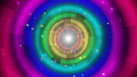 multicoloured circles and particles loop backgroun Stock Video Footage