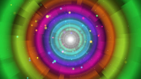 multicoloured circles and particles loop backgroun Animation