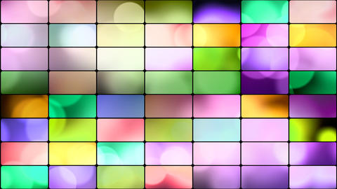 round lights in multicoloured rectangles loop back Stock Video Footage
