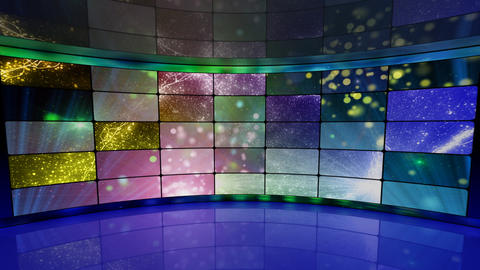Sparkles On Screens In Virtual Studio Background L stock footage