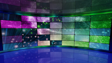 sparkles on screens in virtual studio background l Stock Video Footage