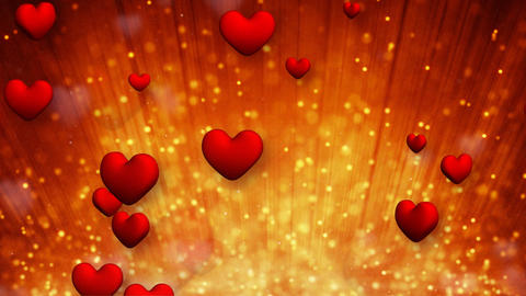heart shapes and golden particles rising up loop Animation