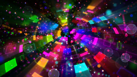 multicolored circular segments and particles loop Stock Video Footage