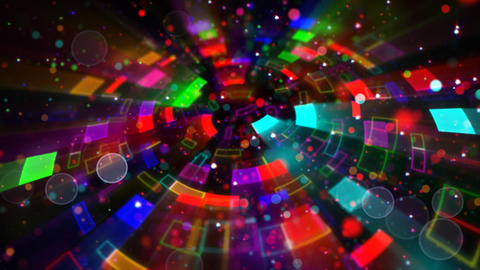 multicolored circular segments and particles loop Animation